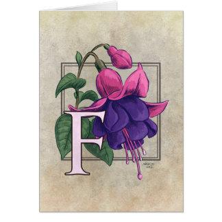 F para las tarjetas fucsias del monograma de la