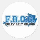 F.R.O.G. - Confíe completamente en dios (azul) Pegatinas Redondas