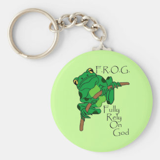 F.R.O.G. Fully Rely On God #1 Basic Round Button Keychain