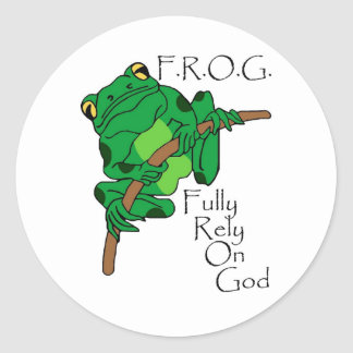 F.R.O.G. Fully Rely On God #1 Classic Round Sticker