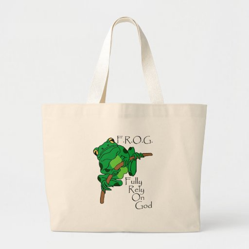 F.R.O.G. Fully Rely On God #1 Tote Bags