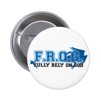 F.R.O.G. - Fully rely on God (blue) Button