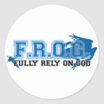 F.R.O.G. - Fully rely on God (blue) Stickers