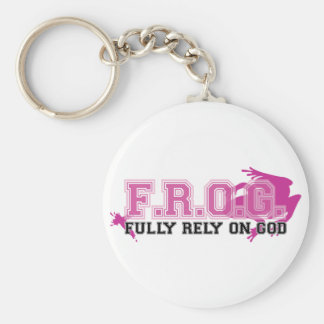 F.R.O.G. - Fully rely on God (pink) Basic Round Button Keychain