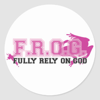 F.R.O.G. - Fully rely on God (pink) Classic Round Sticker