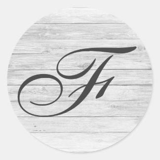 (F) Rustic Wood Monogram | Monogram Shop Classic Round Sticker