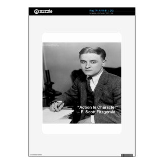"""F Scott Fitzgerald """"Action Is Character"""" Gifts Decal For iPad"""