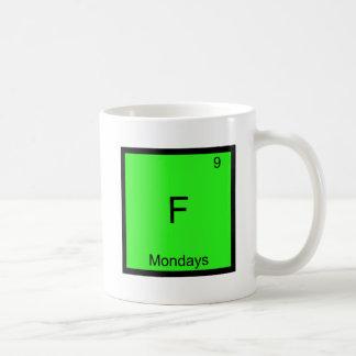 F - Símbolo del elemento de la química de lunes di Taza De Café