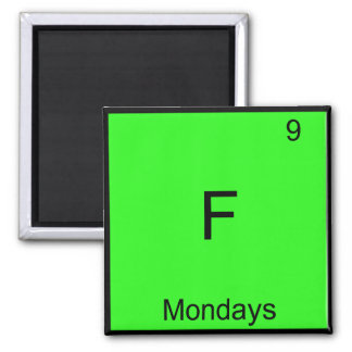 F - Símbolo del elemento de la química de lunes Imán Cuadrado