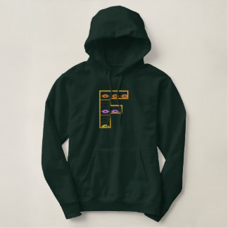 """F"" Southwest Alphabet Embroidered Hoodie"