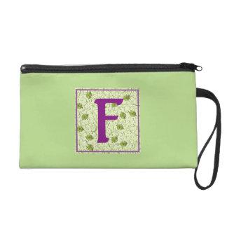 F-Spring Green Floral Wristlet
