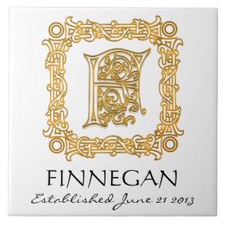 """F"" Surname Wedding Anniversary Day Monogram Tile"