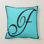 F - The Letter F on Aqua Background Pillow