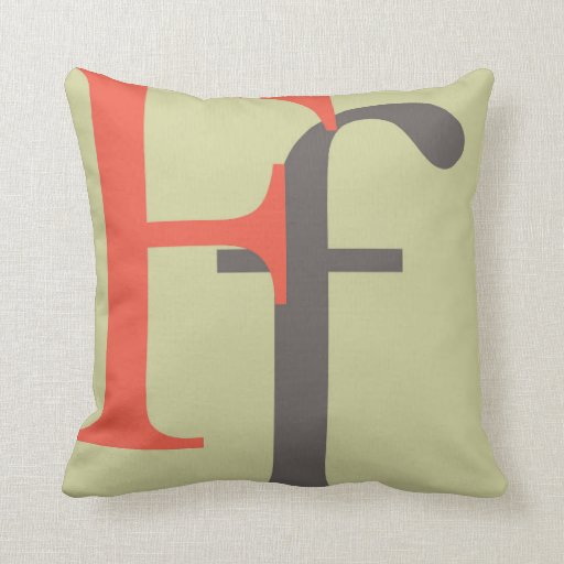 Throw Pillow Types : F - Type character - letter - carta Throw Pillow Zazzle