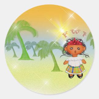 F.W.I. French West Indies Classic Round Sticker