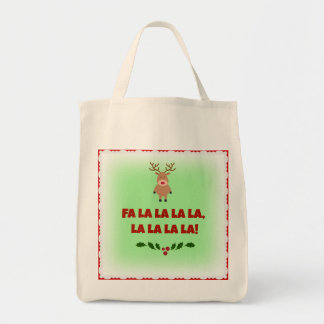 Fa La La La La Christmas Organic Canvas Tote Grocery Tote Bag
