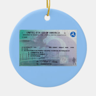 FAA Pilot Double-Sided Ceramic Round Christmas Ornament