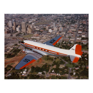 FAA s DC3 - N34 over Oklahoma City - 1987 Poster