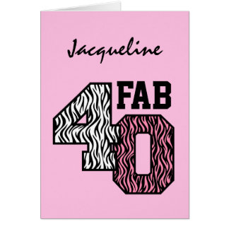 Fab 40 Pink Zebra Print Gift Collection Z309 Card