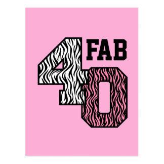 Fab 40 Pink Zebra Print Gift Collection Z309 Postcard