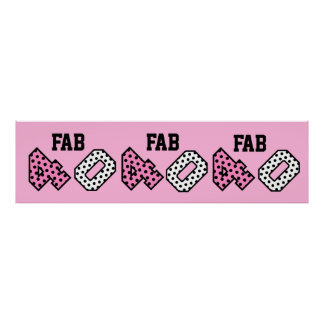 FAB 40th Birthday PINK BLACK WHITE POLKA DOTS Poster