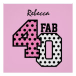 FAB 40th Birthday PINK BLACK WHITE POLKA DOTS Posters