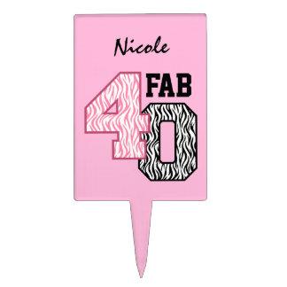 FAB 40th Birthday PINK BLACK WHITE ZEBRA PRINT Cake Pick