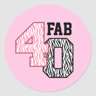 FAB 40th Birthday PINK BLACK WHITE ZEBRA PRINT Classic Round Sticker