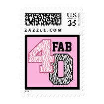 FAB 40th Birthday PINK BLACK WHITE ZEBRA PRINT Postage