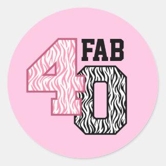 FAB 40th Birthday PINK BLACK WHITE ZEBRA PRINT Classic Round Sticker