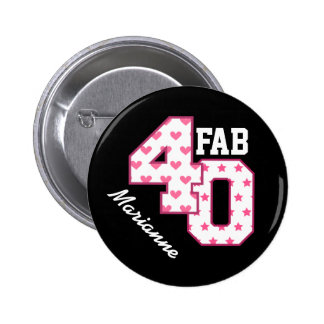 FAB 40th Birthday PINK POLKA DOTS and STARS V03 Button