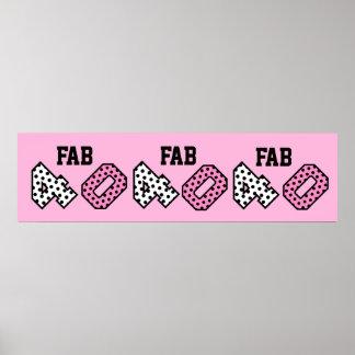 FAB 40th Birthday PINK POLKA DOTS Banner V13 Print