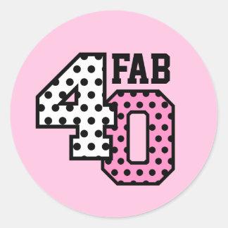 FAB 40th Birthday PINK POLKA DOTS V02J Classic Round Sticker