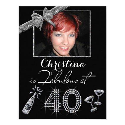 Fab At 40 Champagne & Diamonds Add Photo Birthday Custom Invite