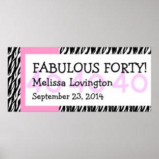 Fab at Forty Zebra Birthday Celebration Gift Y354 Poster