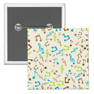 Fab Blue & Green Music Notes 2 Inch Square Button