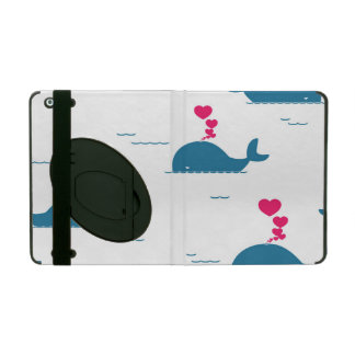 Fab Blue Whale Design With Hearts iPad Case
