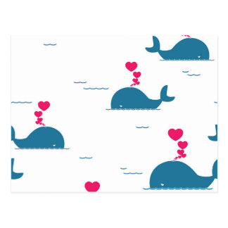 Fab Blue Whale Design With Hearts Postcard