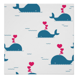 Fab Blue Whale Design With Hearts Poster