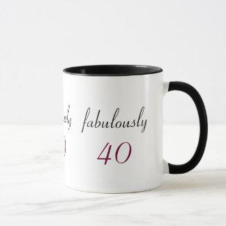 Fab Fabulously 40 Black & White Ringer Mug