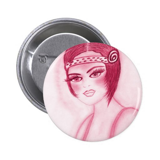 Fab Flapper Girl in Red 2 Inch Round Button