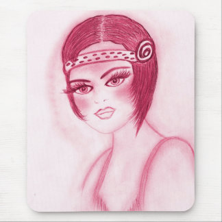 Fab Flapper Girl in Red Mouse Pad