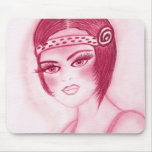 Fab Flapper Girl in Red Mousepads