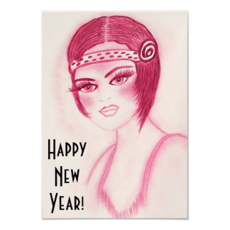 Fab Flapper Girl in Red New Year Invites