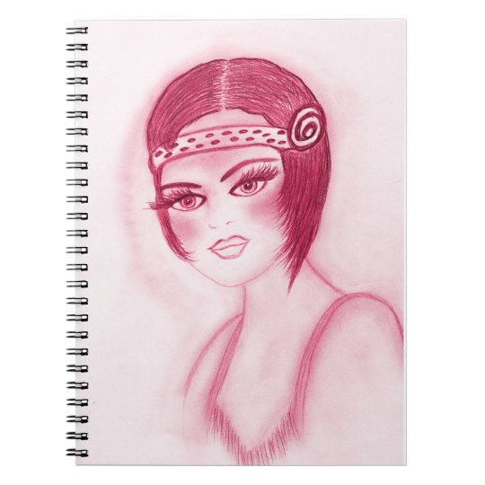 Fab Flapper Girl in Red Notebook