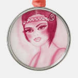 Fab Flapper Girl in Red Round Metal Christmas Ornament
