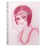 Fab Flapper Girl in Red Spiral Notebooks