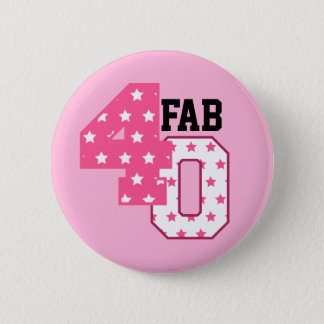 FAB Forty 40th Birthday PINK and WHITE STARS Pinback Button
