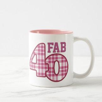 FAB Forty 40th Birthday PINK Plaid 2 Two-Tone Coffee Mug