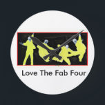"""Fab Four Love Round Clock<br><div class=""""desc"""">It is difficult for me to find memorabilia related to the Fab Four without costing too much. That&#39;s why,  I create this clock.</div>"""